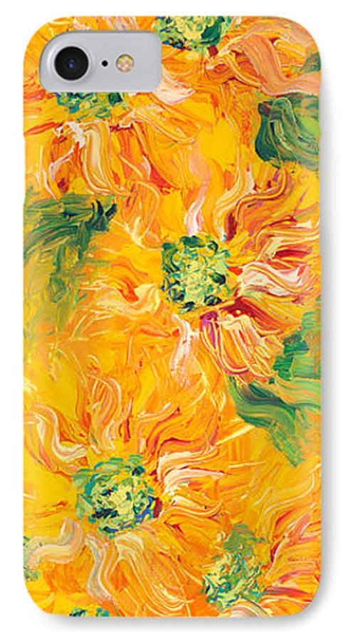Yellow IPhone 7 Case featuring the painting Textured Yellow Sunflowers by Nadine Rippelmeyer