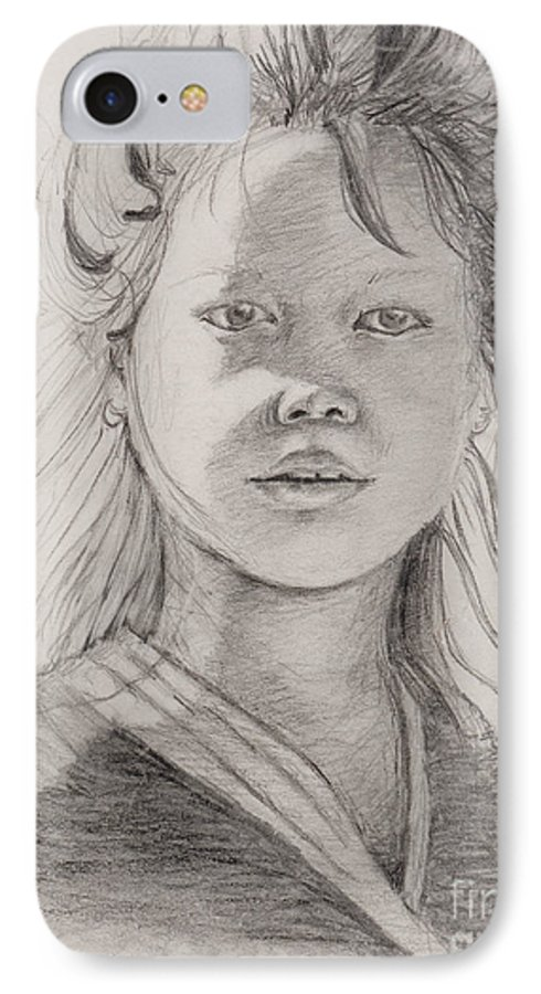 Portrait IPhone 7 Case featuring the drawing Thai Beauty by Nadine Rippelmeyer
