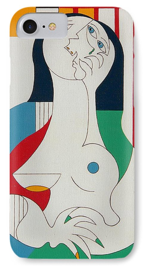 Women Fingers Nails Modern Humor IPhone 7 Case featuring the painting Thanks by Hildegarde Handsaeme