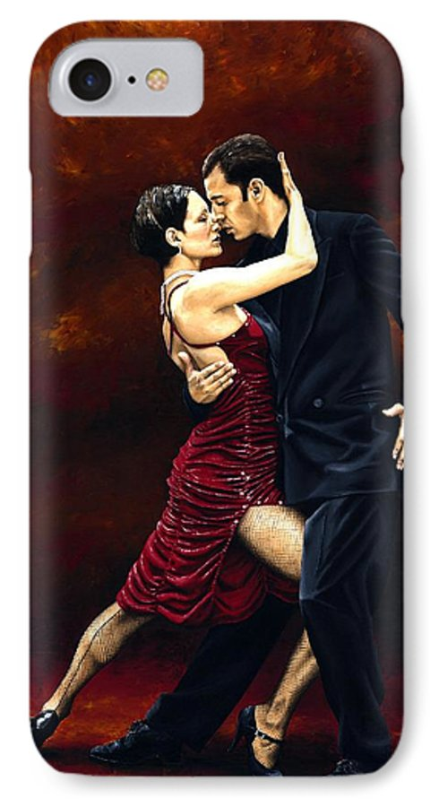 Tango IPhone 7 Case featuring the painting That Tango Moment by Richard Young