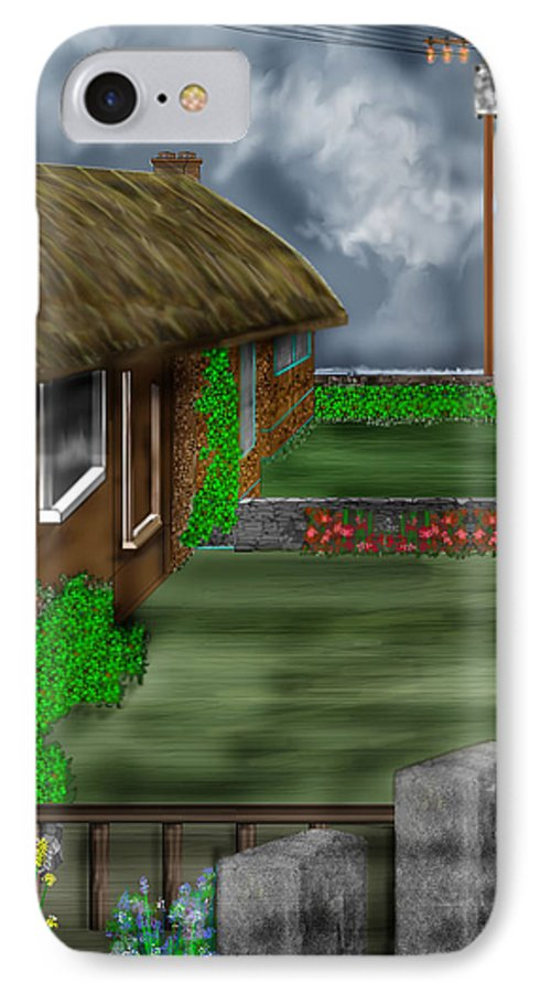 Cottages IPhone 7 Case featuring the painting Thatched Roof Cottages In Ireland by Anne Norskog