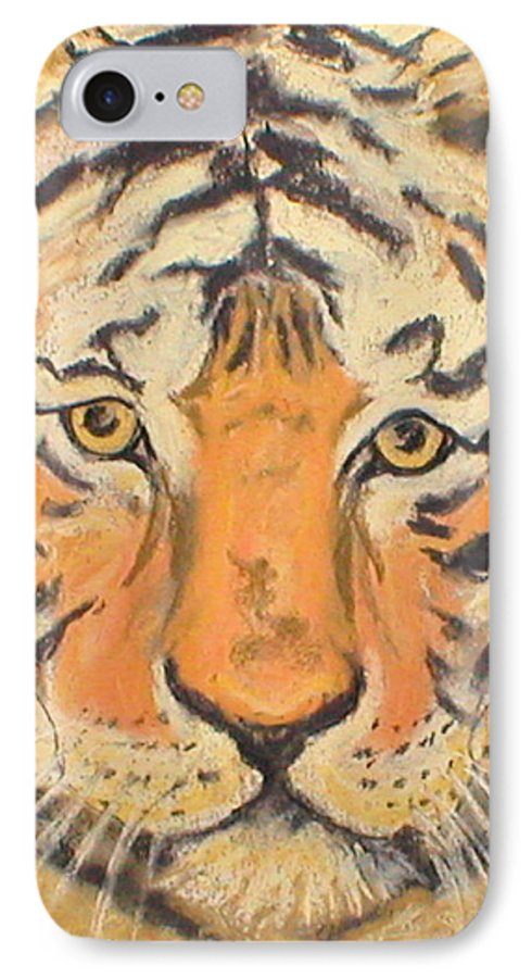 Pastel IPhone 7 Case featuring the drawing The Amber Stare by Cori Solomon