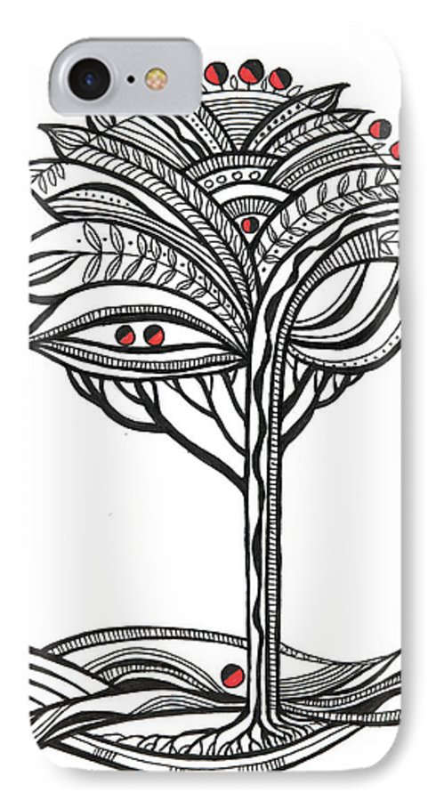 Abstract IPhone 7 Case featuring the drawing The Apple Tree by Aniko Hencz