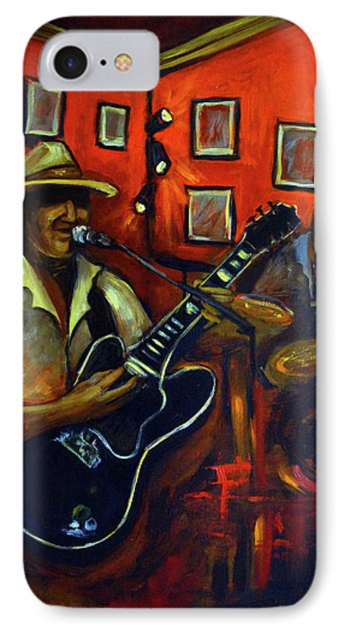 Blues IPhone 7 Case featuring the painting The Back Room by Valerie Vescovi