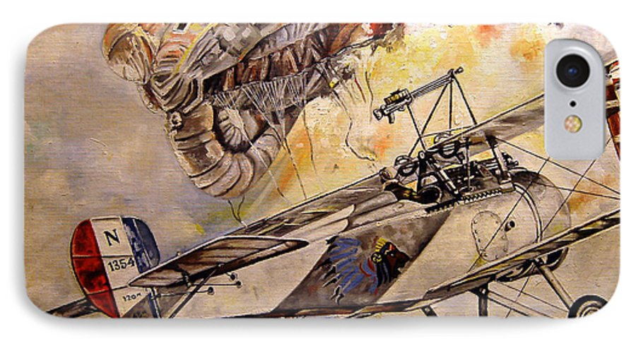 Military IPhone 7 Case featuring the painting The Balloon Buster by Marc Stewart