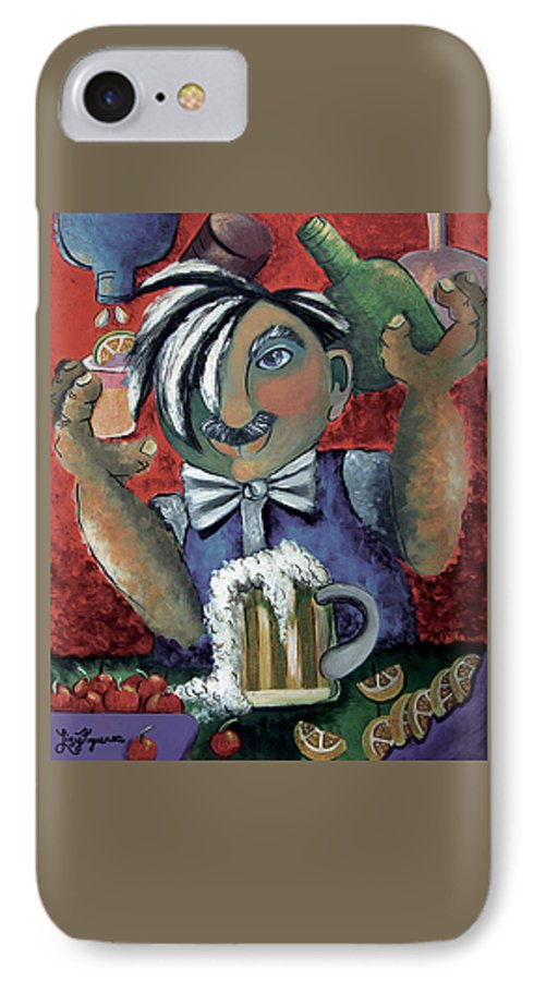 Bartender IPhone 7 Case featuring the painting The Bartender by Elizabeth Lisy Figueroa