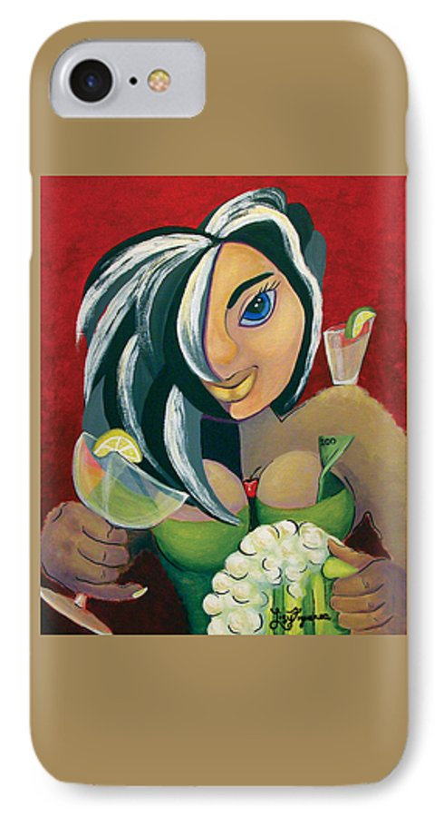 Bar IPhone 7 Case featuring the painting The Barwaitress by Elizabeth Lisy Figueroa