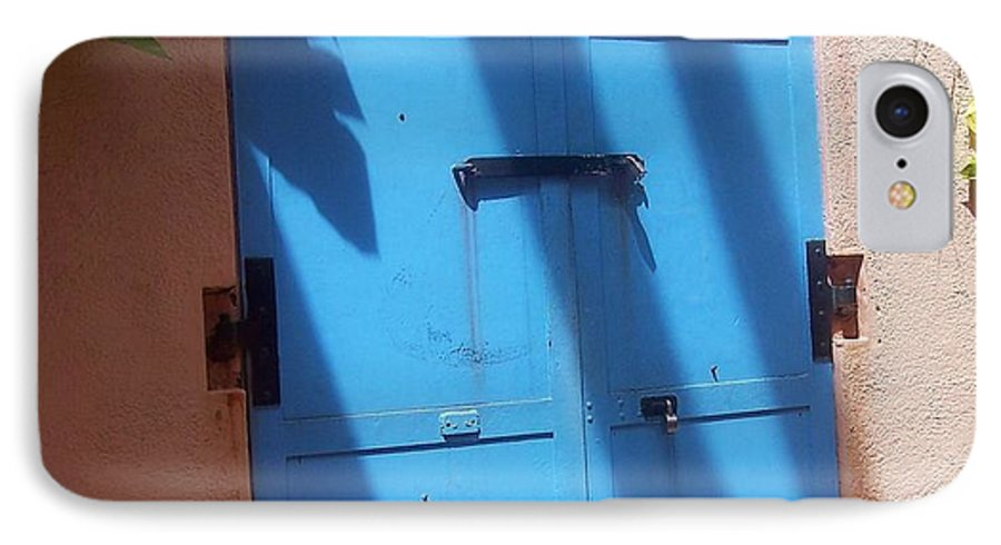 Architecture IPhone 7 Case featuring the photograph The Blue Door by Debbi Granruth