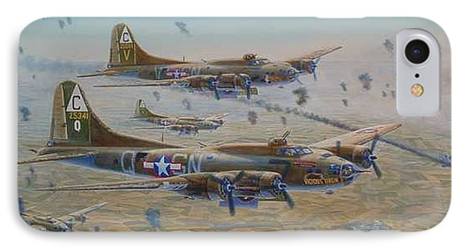 303rd Bomb Groups Vicious Virgin IPhone 7 Case featuring the painting The Bomb Run Over Schwienfurt by Scott Robertson