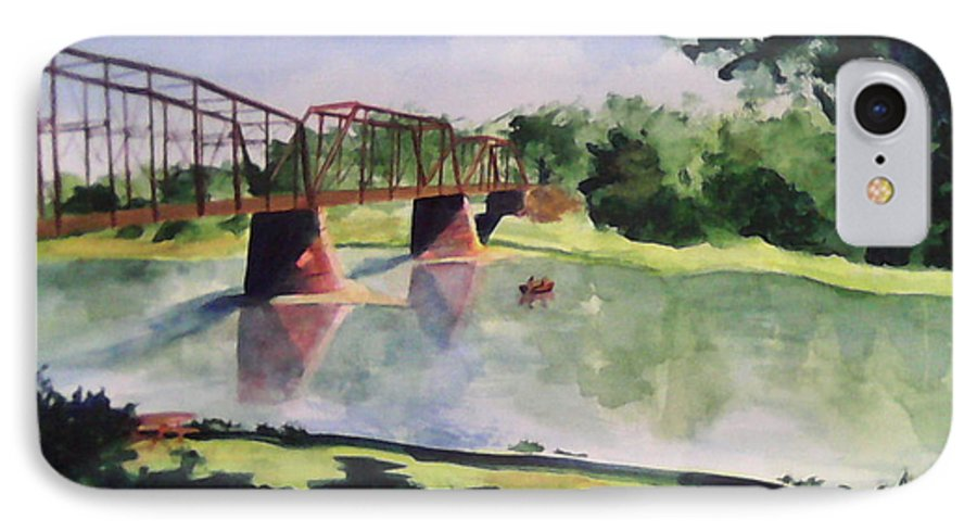 Bridge IPhone 7 Case featuring the painting The Bridge At Ft. Benton by Andrew Gillette