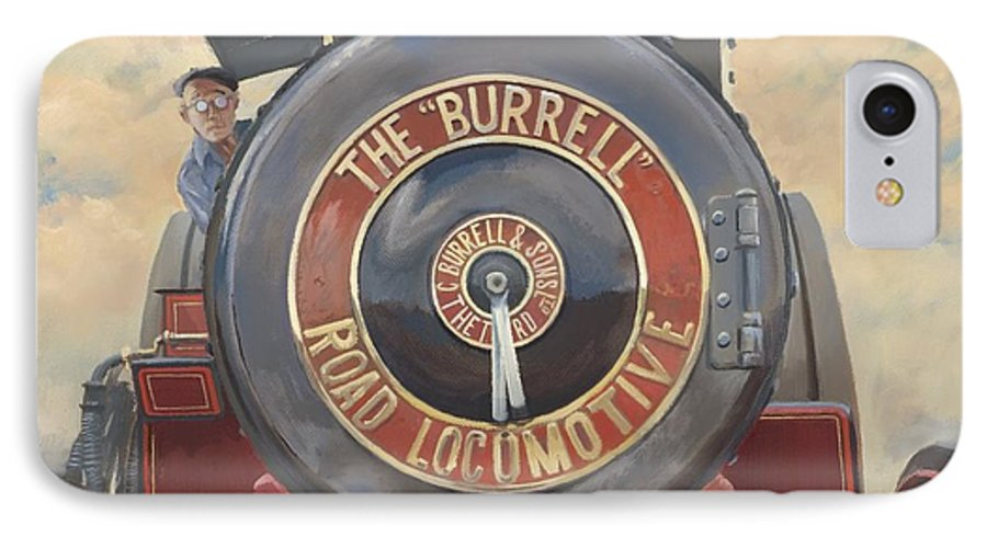 Traction Engine IPhone 7 Case featuring the painting The Burrell Road Locomotive by Richard Picton