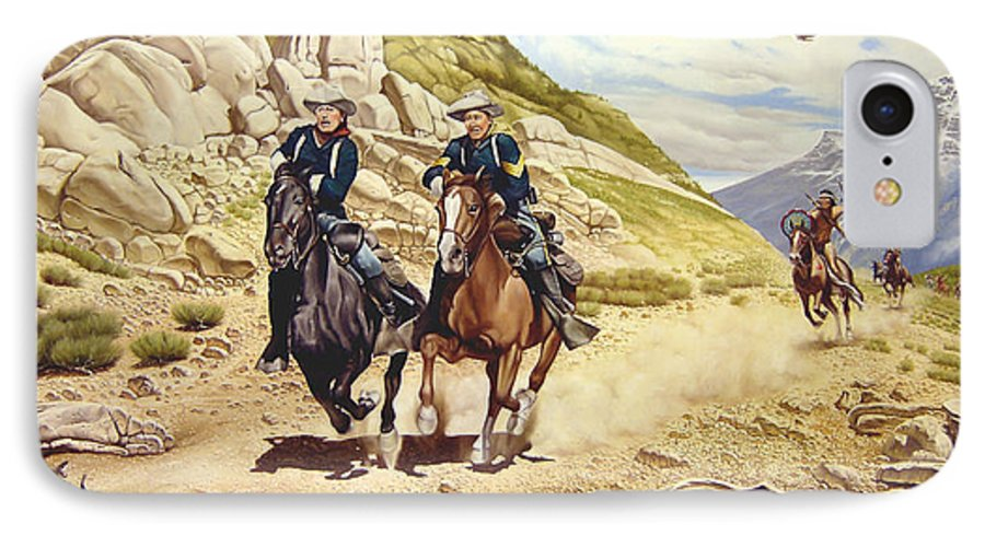 Western IPhone 7 Case featuring the painting The Chase by Marc Stewart