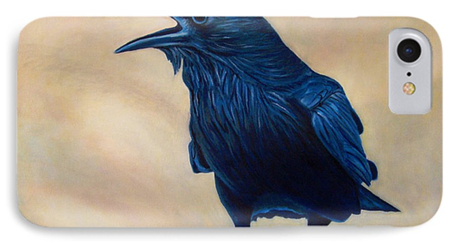 Raven IPhone 7 Case featuring the painting The Conversation by Brian Commerford