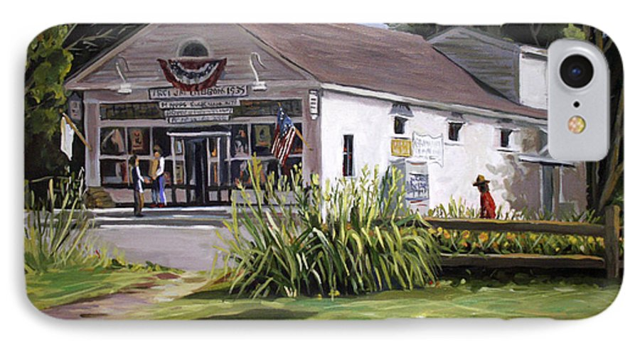 Buildings IPhone 7 Case featuring the painting The Country Store by Nancy Griswold