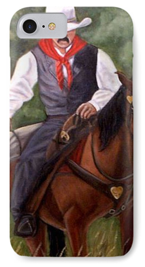 Portrait IPhone 7 Case featuring the painting The Cowboy by Toni Berry