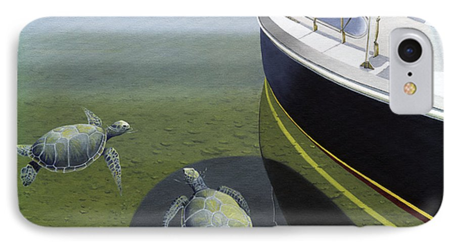 Sail Boat IPhone 7 Case featuring the painting The Curiosity Of Sea Turtles by Gary Giacomelli
