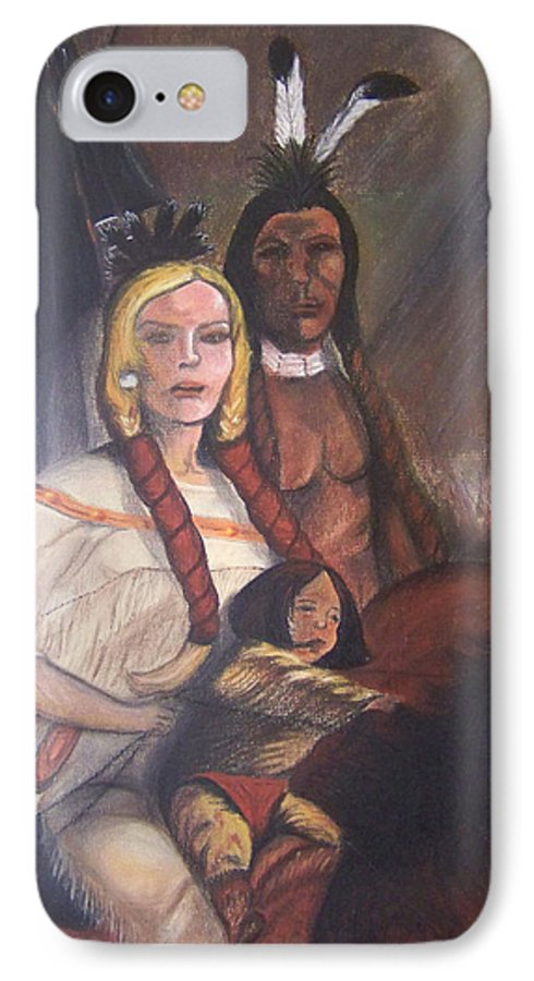 Artwork IPhone 7 Case featuring the painting The Cynthia Ann Parker Family by Laurie Kidd