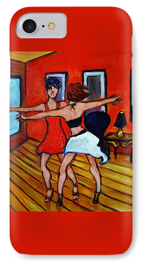 Dancers IPhone 7 Case featuring the painting The Dancers by Valerie Vescovi