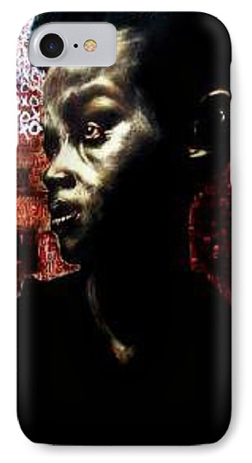 Portrait IPhone 7 Case featuring the mixed media The Day We First Met by Chester Elmore