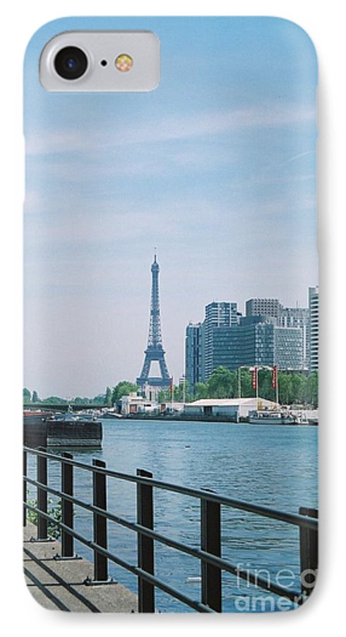 The Eiffel Tower IPhone 7 Case featuring the photograph The Eiffel Tower And The Seine River by Nadine Rippelmeyer