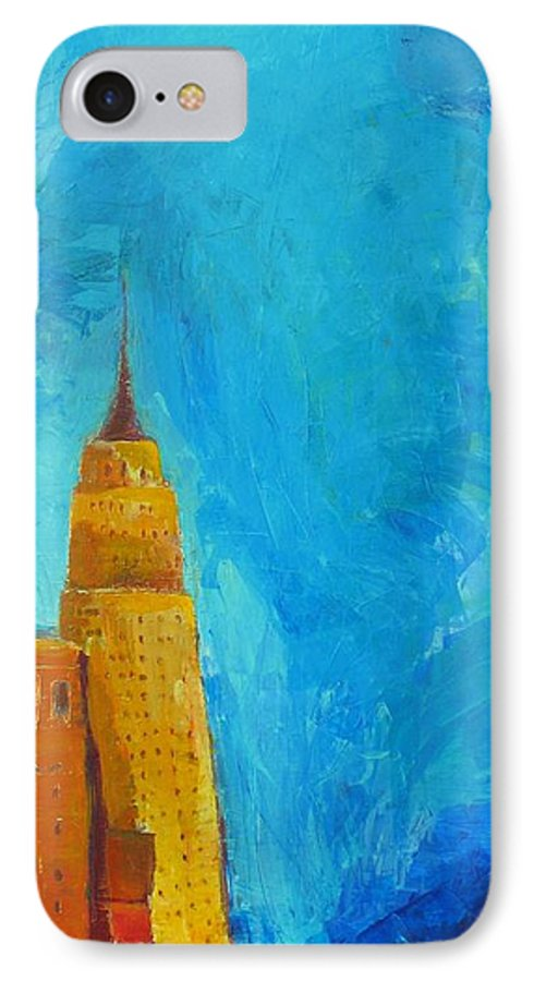 Abstract Cityscape IPhone 7 Case featuring the painting The Empire State by Habib Ayat