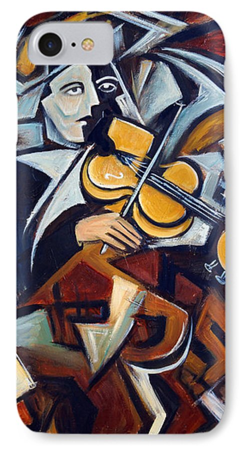 Musician IPhone 7 Case featuring the painting The Fiddler by Valerie Vescovi