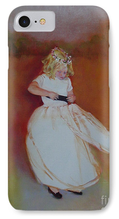 Contemporary Portrait IPhone 7 Case featuring the painting The Flower Girl Copyrighted by Kathleen Hoekstra