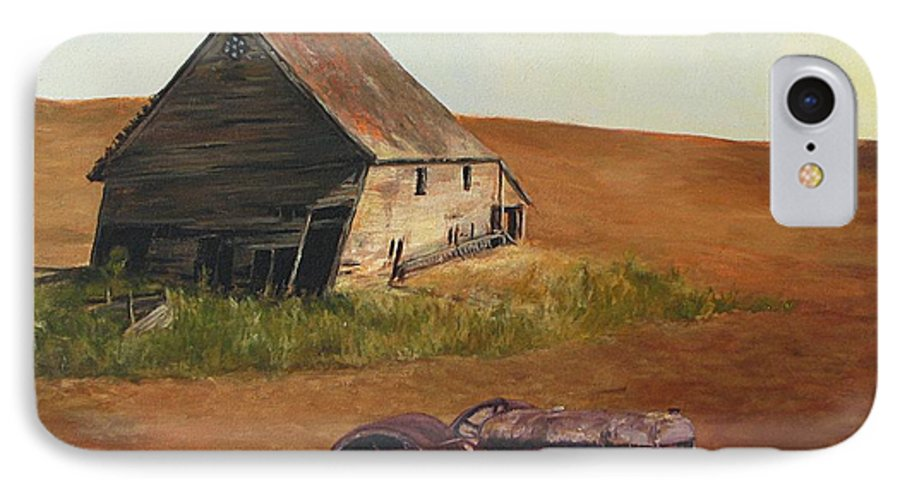 Oil Paintings IPhone 7 Case featuring the painting The Forgotten Farm by Chris Neil Smith
