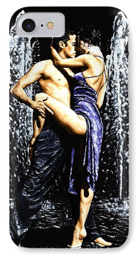 Tango IPhone 7 Case featuring the painting The Fountain Of Tango by Richard Young