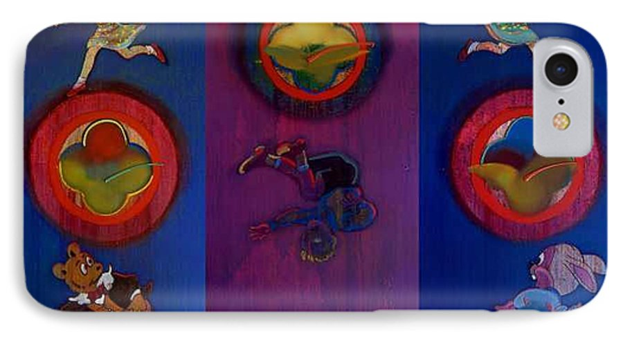 The Drums Of The Fruit Machine Stop At Random. Triptych IPhone 7 Case featuring the painting The Fruit Machine Stops II by Charles Stuart