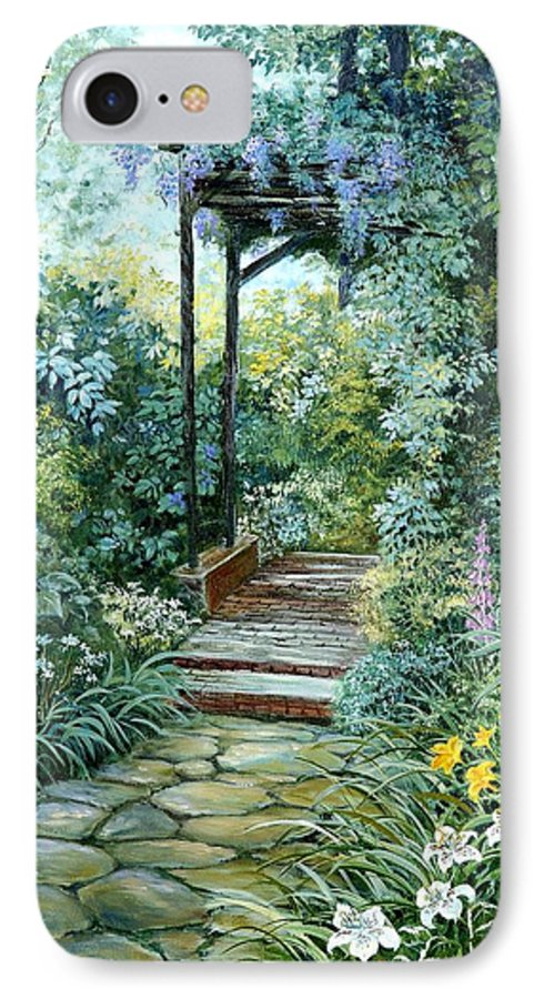 Oil Painting;wisteria;garden Path;lilies;garden;flowers;trellis;trees;stones;pergola;vines; IPhone 7 Case featuring the painting The Garden Triptych Right Side by Lois Mountz