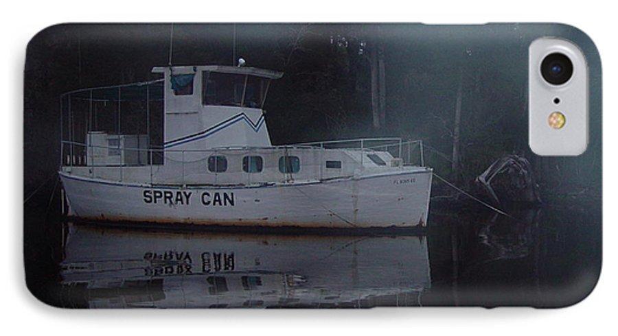 Boat IPhone 7 Case featuring the painting The Ghost Ship by Debbie May