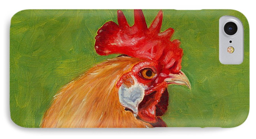 Rooster IPhone 7 Case featuring the painting The Gladiator by Paula Emery