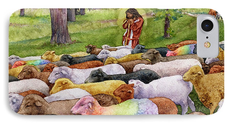 Jesus Painting IPhone 7 Case featuring the painting The Good Shepherd by Anne Gifford