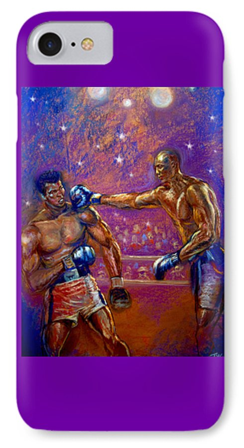 Boxing IPhone 7 Case featuring the pastel the Greatest Muhammed Ali vs Jack Johnson by Tommy Winn