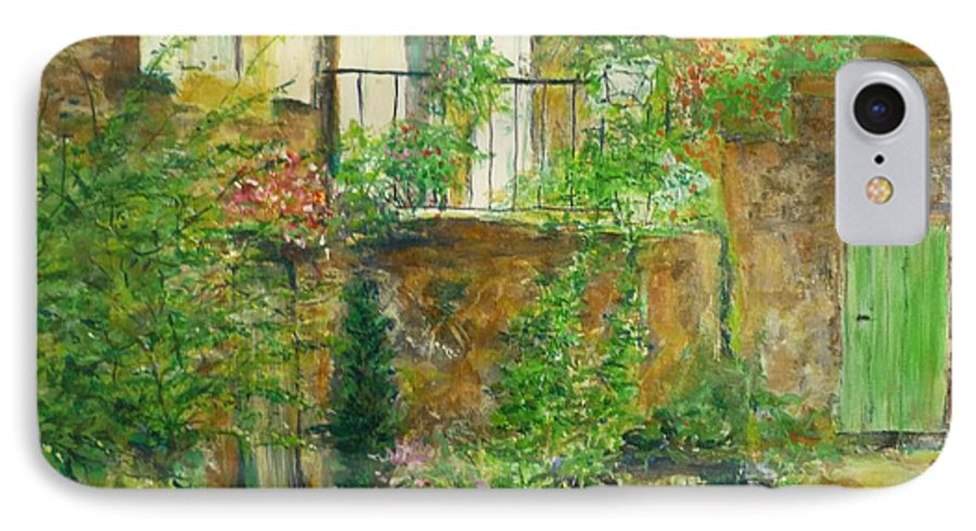 Stone IPhone 7 Case featuring the painting The Green Door by Lizzy Forrester