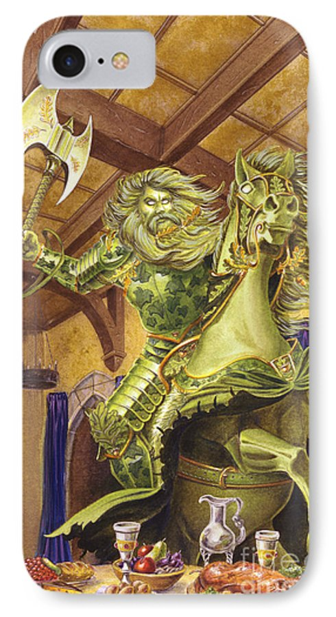Fine Art IPhone 7 Case featuring the painting The Green Knight by Melissa A Benson