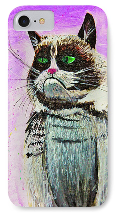 Grumpy Cat IPhone 7 Case featuring the painting The Grumpy Cat From The Internets by eVol i