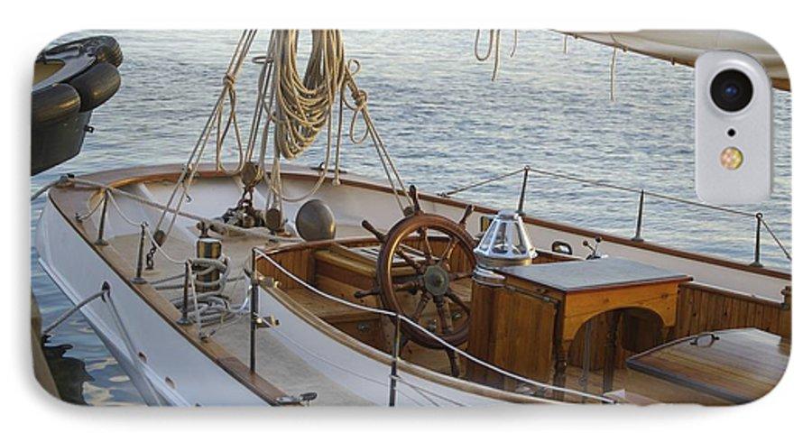 Sail IPhone 7 Case featuring the photograph The Helm by Faith Harron Boudreau