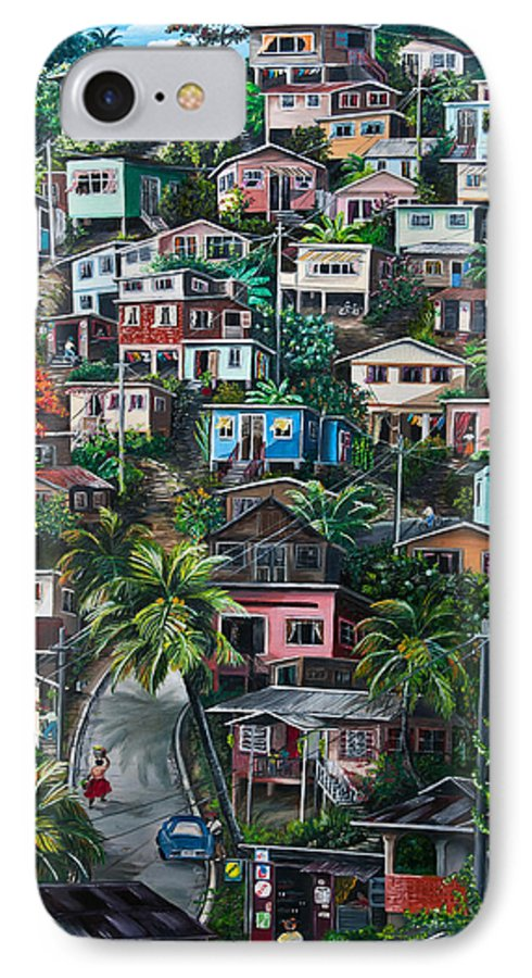 Landscape Painting Cityscape Painting Houses Painting Hill Painting Lavantille Port Of Spain Painting Trinidad And Tobago Painting Caribbean Painting Tropical Painting Caribbean Painting Original Painting Greeting Card Painting IPhone 7 Case featuring the painting The Hill   Trinidad by Karin Dawn Kelshall- Best