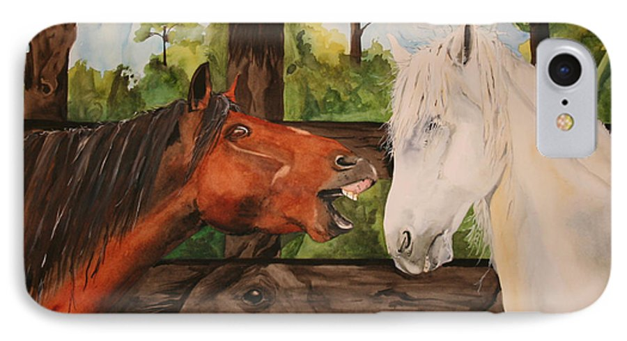 Horse IPhone 7 Case featuring the painting The Horse Whisperers by Jean Blackmer