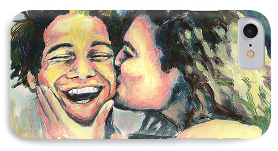 Man IPhone 7 Case featuring the painting The Kiss by Nicole Zeug