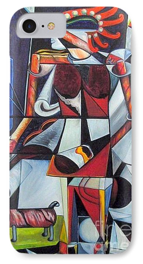 Cubism IPhone 7 Case featuring the painting The Lady And Her Dog by Pilar Martinez-Byrne