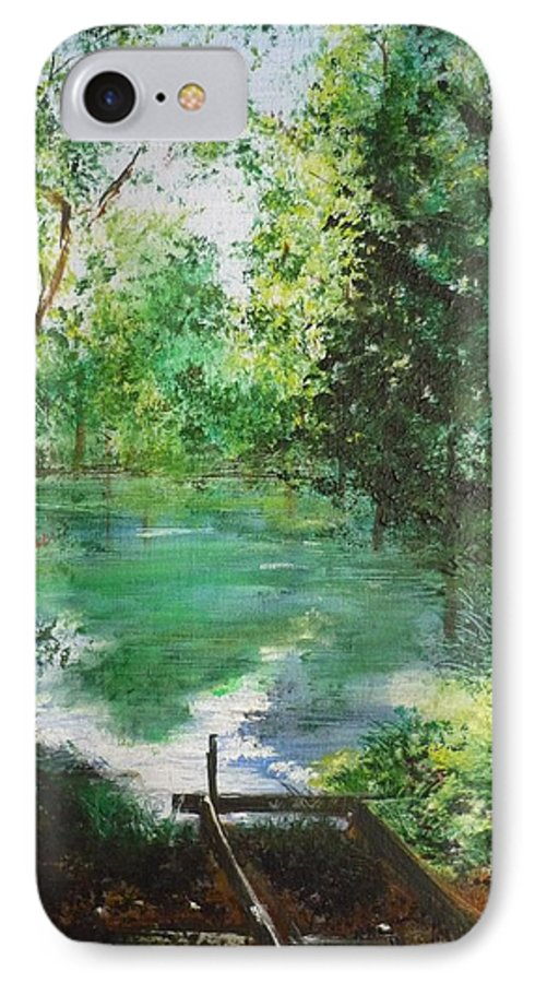 Lake IPhone 7 Case featuring the painting The Lake At Stansted Unfinished by Lizzy Forrester