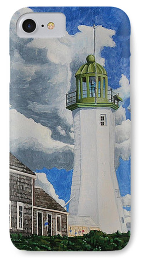 Lighthouse IPhone 7 Case featuring the painting The Light Keeper's House by Dominic White