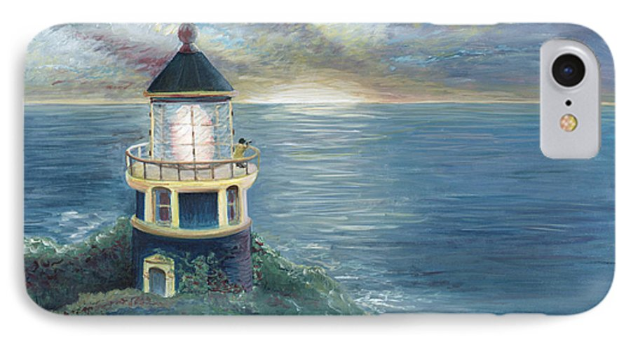Lighthouse IPhone 7 Case featuring the painting The Lighthouse by Nadine Rippelmeyer