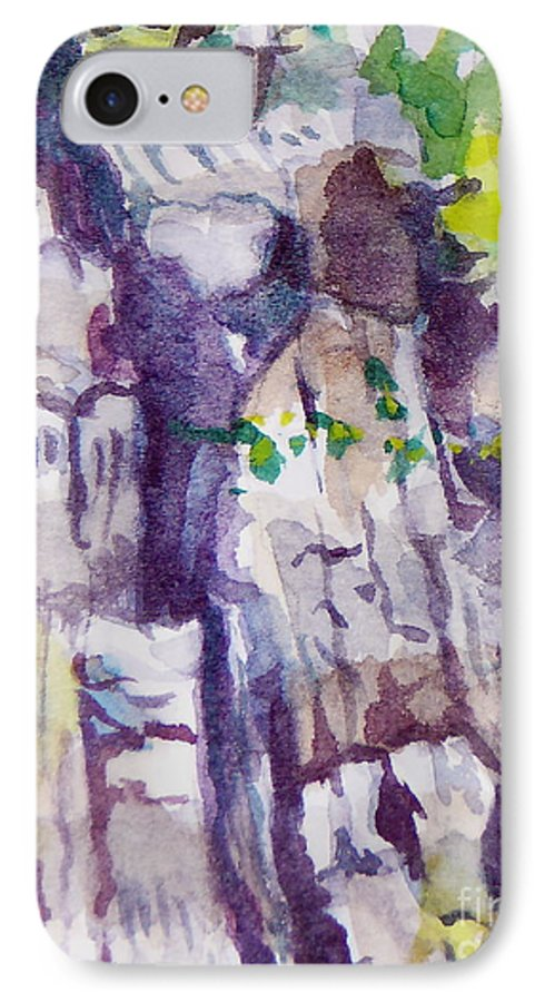 Purple IPhone 7 Case featuring the painting The Little Climbing Wall by Jan Bennicoff
