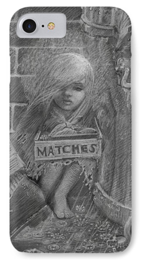 Hans Christian Andersen IPhone 7 Case featuring the drawing The Little Matchseller by David Dozier