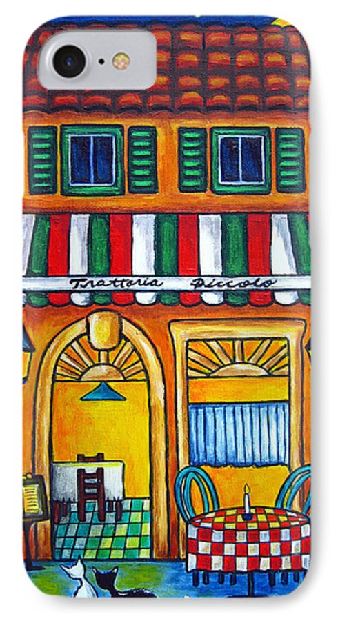 Blue IPhone 7 Case featuring the painting The Little Trattoria by Lisa Lorenz