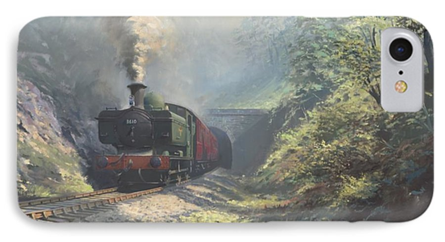 Steam IPhone 7 Case featuring the painting The Merthyr Tunnel by Richard Picton